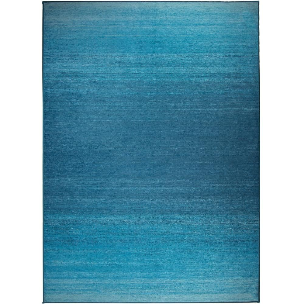 Ruggable Washable Ombre Blue 5 Ft X 7 Ft Stain Resistant Area Rug 131858web The Home Depot Ruggable Washable Area Rugs Area Rugs