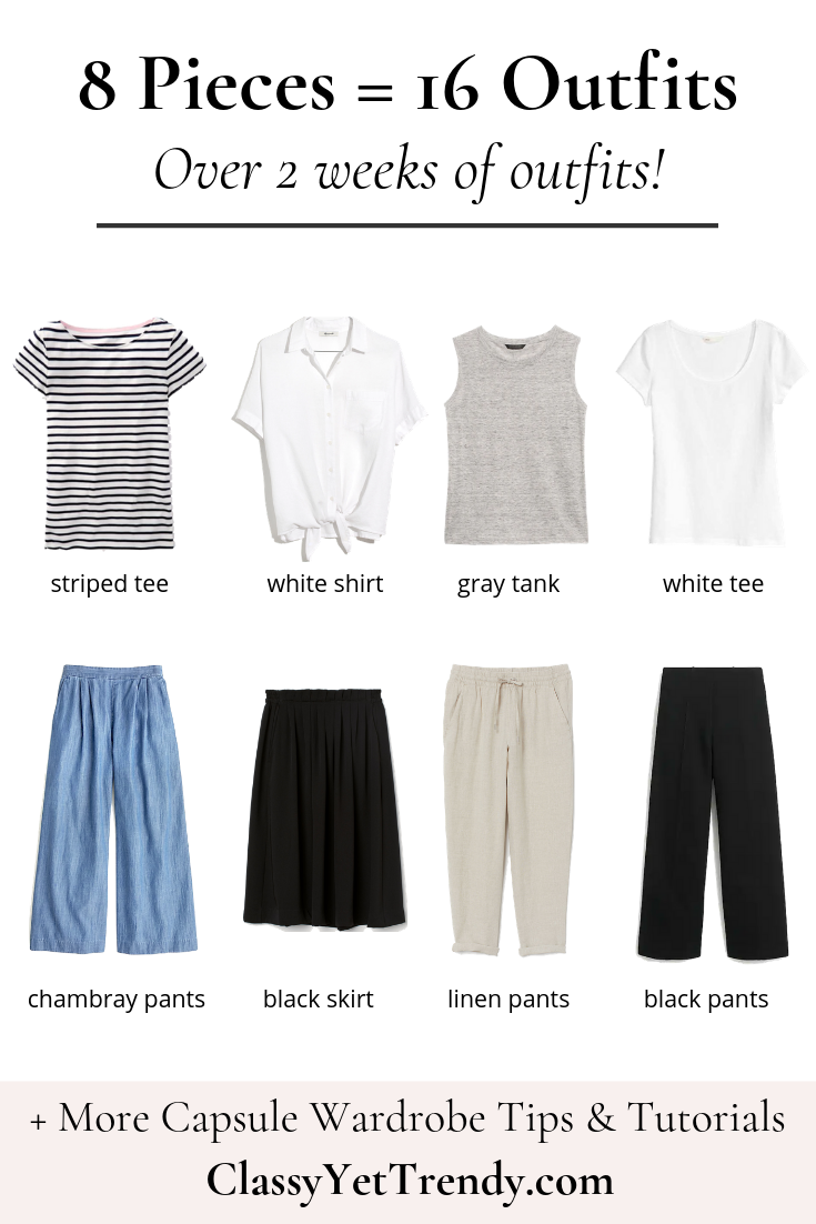 8 Pieces = 16 Outfits: French Minimalist Carry-On Travel Capsule Wardrobe #travelwardrobesummer