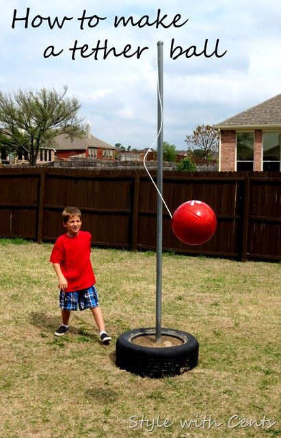 Do it yourself outdoor party games the best backyard entertainment budget friendly diy backyard tether ball game set via style with cents how to make a tetherball super inexpensive backyard toy for the whole family solutioingenieria Gallery