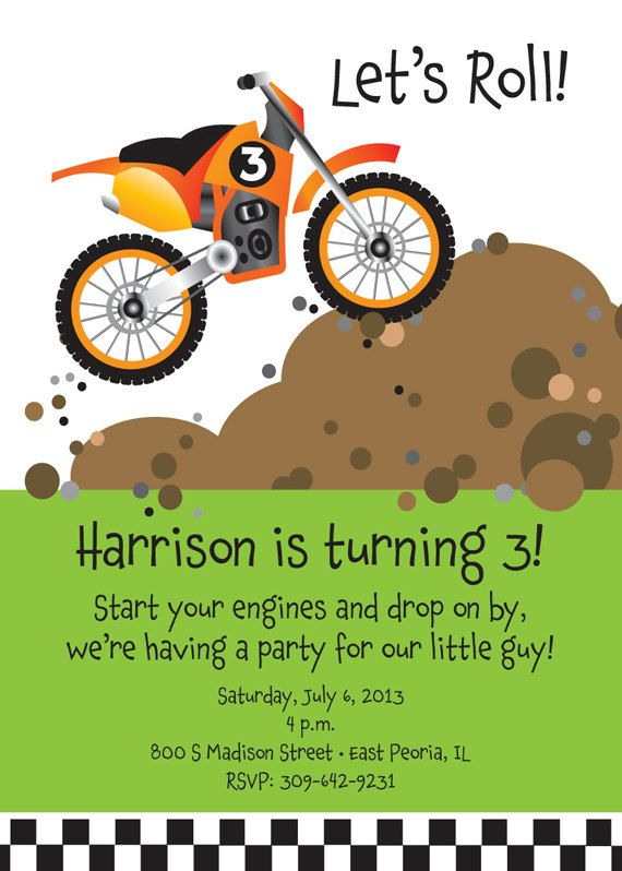 Dirt Bike Birthday Party Invitation For Kids By Tbonesquid On Etsy