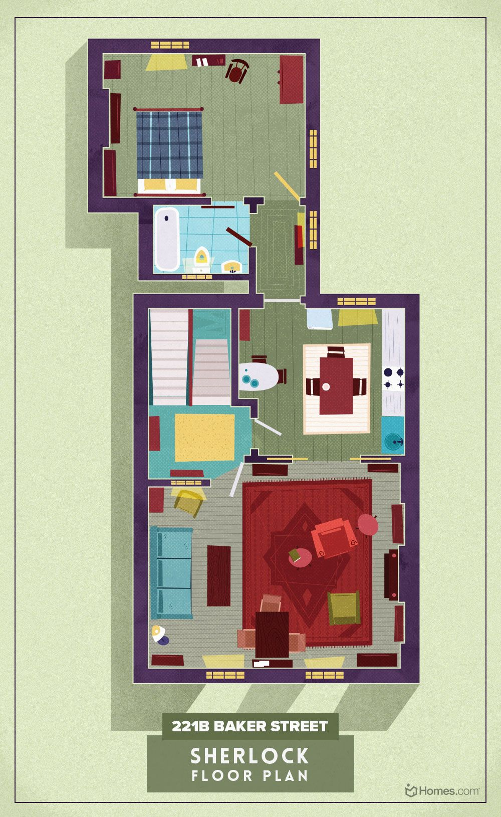 Detailed illustrations explore homes of 8 modern cult TV programmes