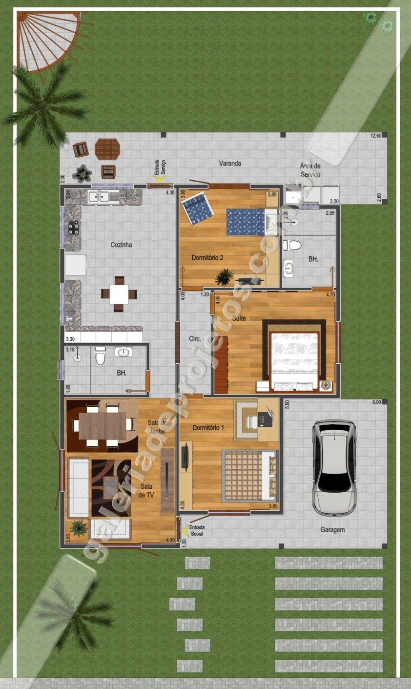 C projeto casa t rrea 2 quartos e 1 su te for Casa moderna 60 m2