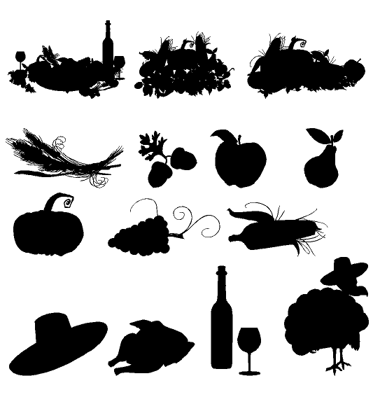 Thanksgiving Silhouettes Holiday Custom Vinyl Decals For Home - Custom vinyl decals for crafts