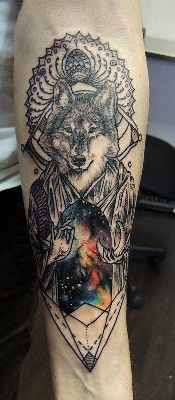 Super Tatouage Loup Indien Interieur Avant Bras Homme | Tatoo  QH98