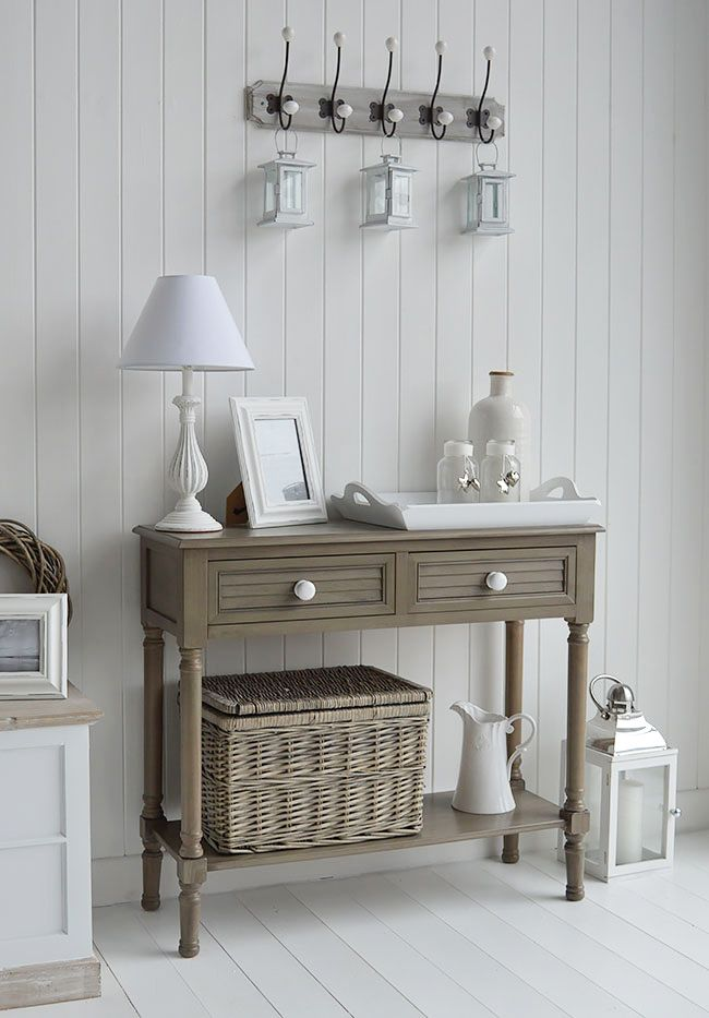Newport French Grey Console Table For Hall Furniture In New England Style Homes