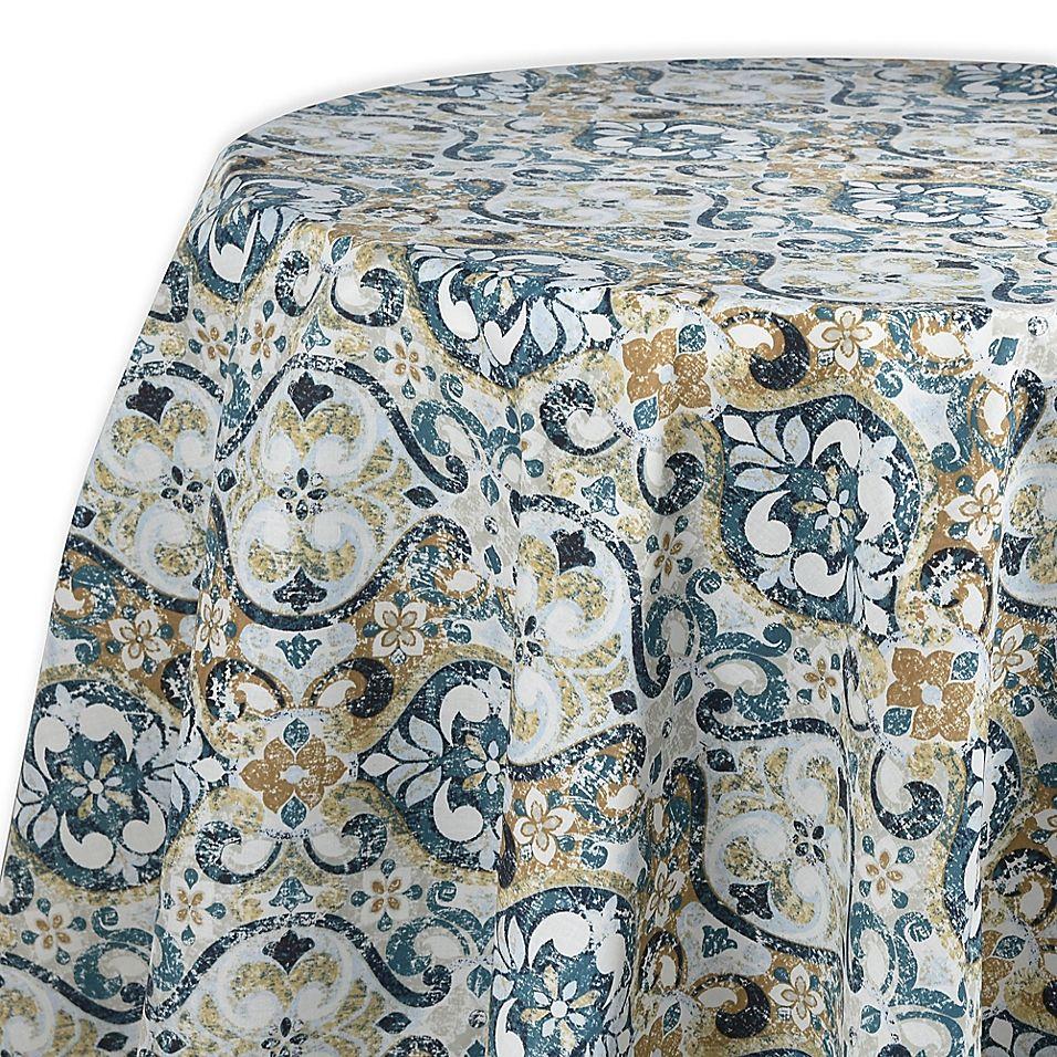 Town Country Sagrada Laminated Fabric 70 Round Tablecloth Teal Laminated Fabric 70 Inch Round Tablecloth Round Tablecloth
