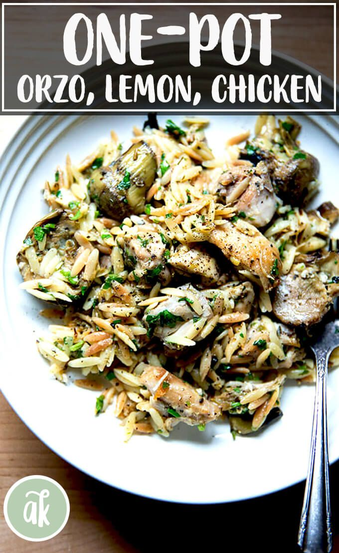 This onepan lemon orzo chicken with artichokes comes together so quickly and is so tasty I love using Trader Joes grilled artichoke hearts