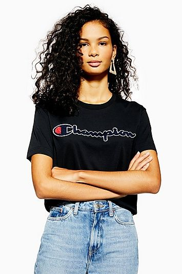 ecb0c632a01523 Womens Script Logo T-Shirt By Champion - Black in 2019 | Products