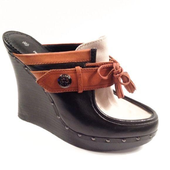0ff80f3d7ca L.A.M.B. Gwen Stefani EUCLID wedge clog loafer w tassel size 8 black tan  cream  fashion  clothing  shoes  accessories  womensshoes  heels