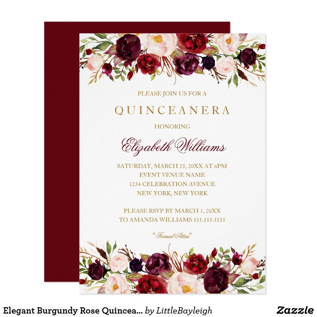 Elegant Burgundy Rose Quinceanera Invitation | { Happy Birthday ...
