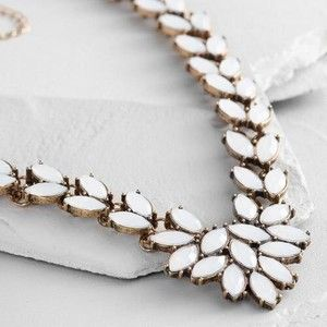 leo statement necklace -  Cost Plus World Market Long White Opal Statement Necklace
