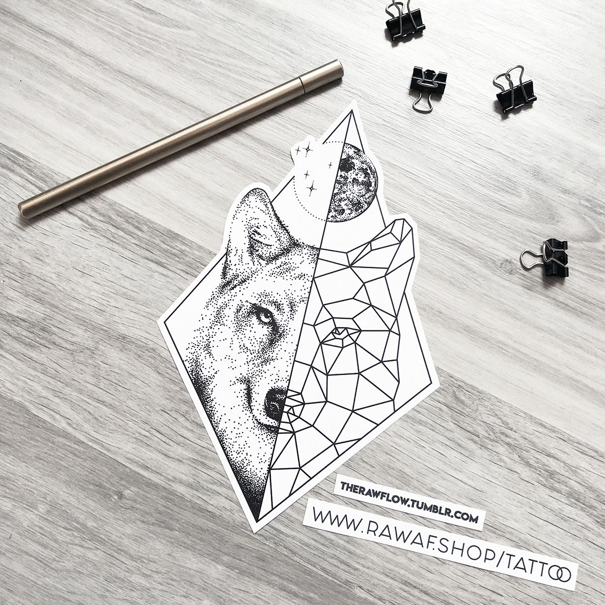 The Good Old Half Half Designs Are Back Dotwork Geometric Wolf With Full Moon Download This Design Wolf And Moon Tattoo Geometric Wolf Tattoo Geometric Wolf