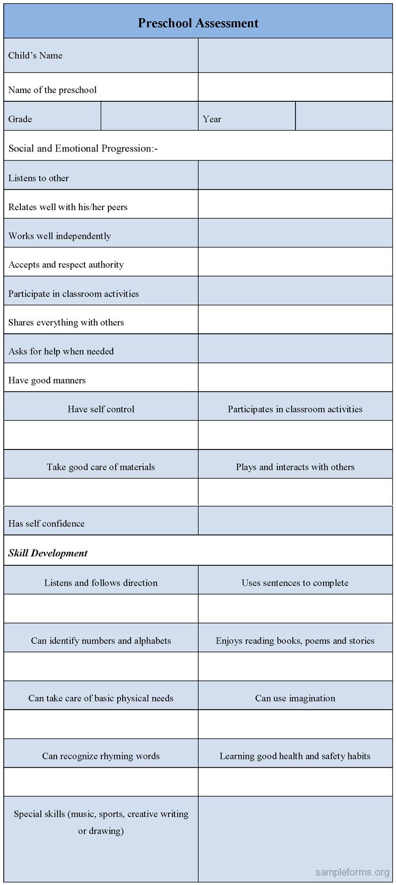 Preschool Assessment Form  Preschool Assessment Forms