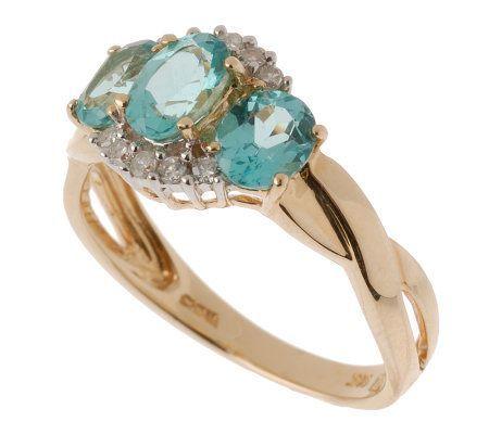 Product image of 0.90 ct tw Apatite & 1/10 ct tw Diamond Ring 14K Gold