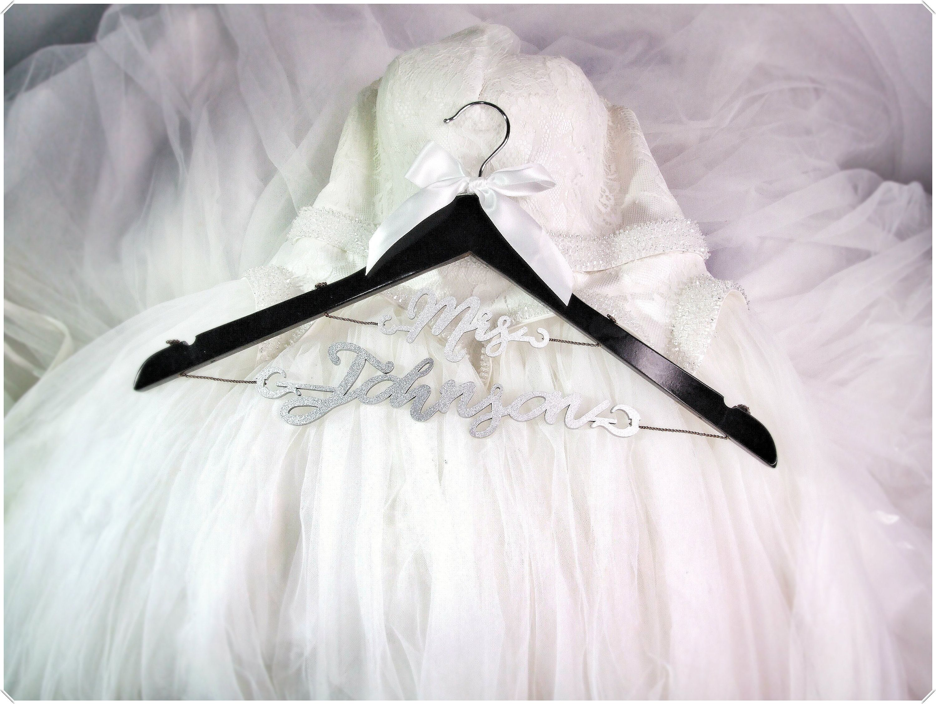A handcrafted personalized wedding hanger for your wedding gown or wedding dress Custom bridal hanger