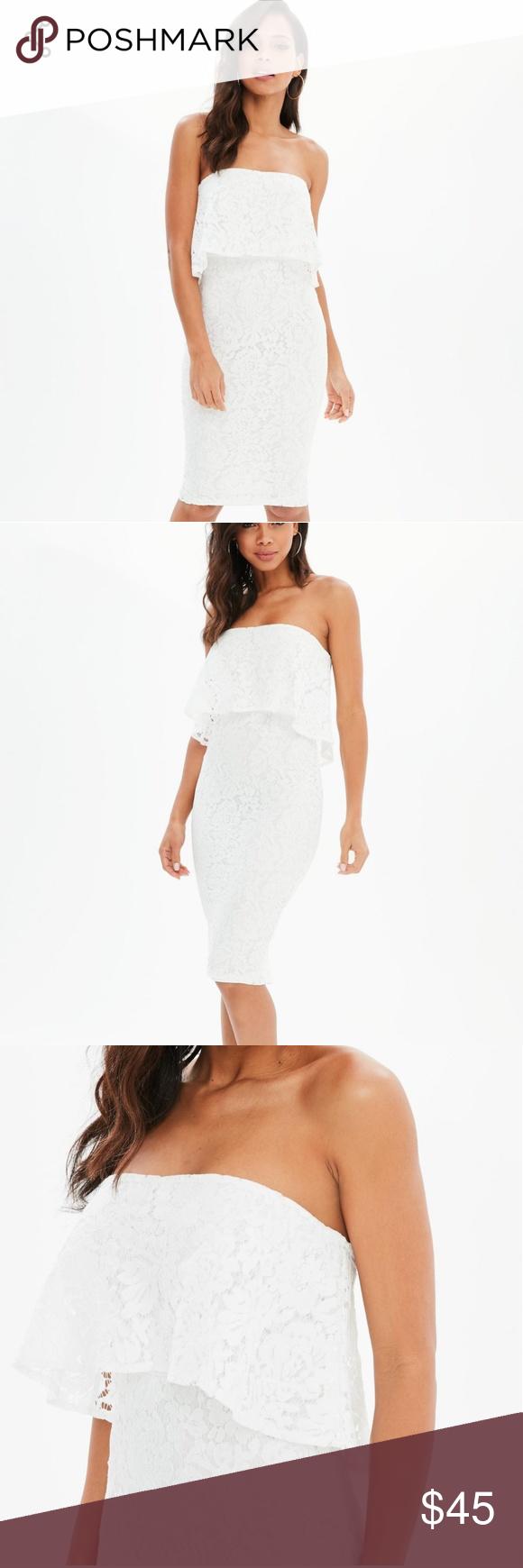 9a4d9df4b3 NWT white lace bandeau frill midi dress NWT white midi dress featuring lace  fabric