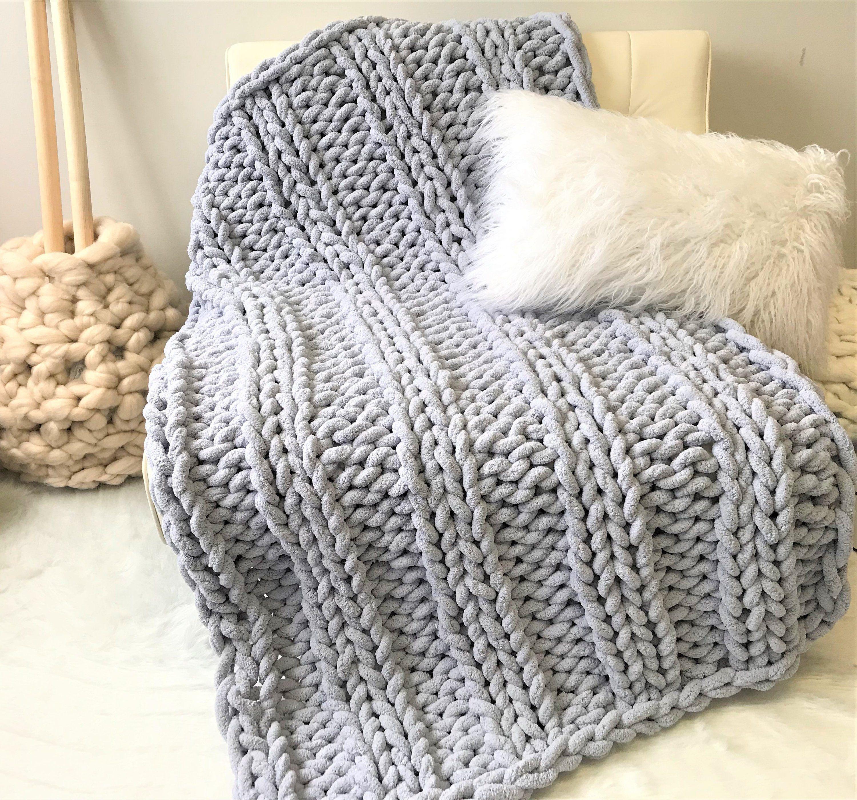 Chunky Knit Blanket Chenille Yarn Blanket Chunky Chenille Etsy Knitted Blankets Arm Knitting Blanket Chenille Blanket