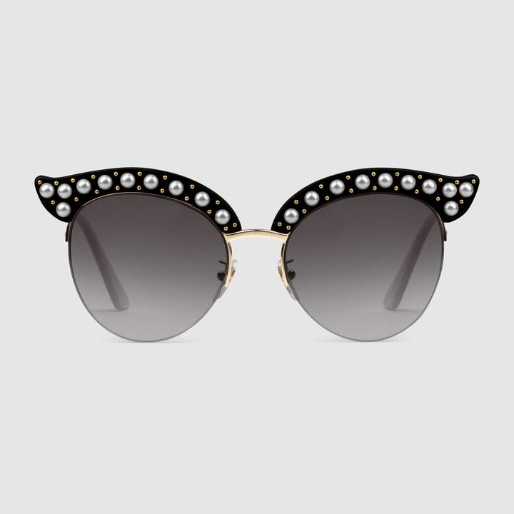 6d084da3cd1 Gucci Cat eye acetate sunglasses with pearls