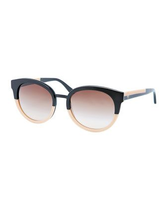 9a3cb9d65921 Eclectic Two-Tone Sunglasses, Black/Cream by Tory Burch at Neiman Marcus.