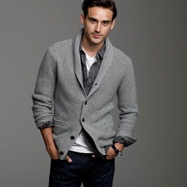 Mens cardigan.. add buttoned shirt and jeans, and he's ready for the camera.