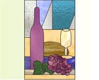 Wine glass, grapes and bottle