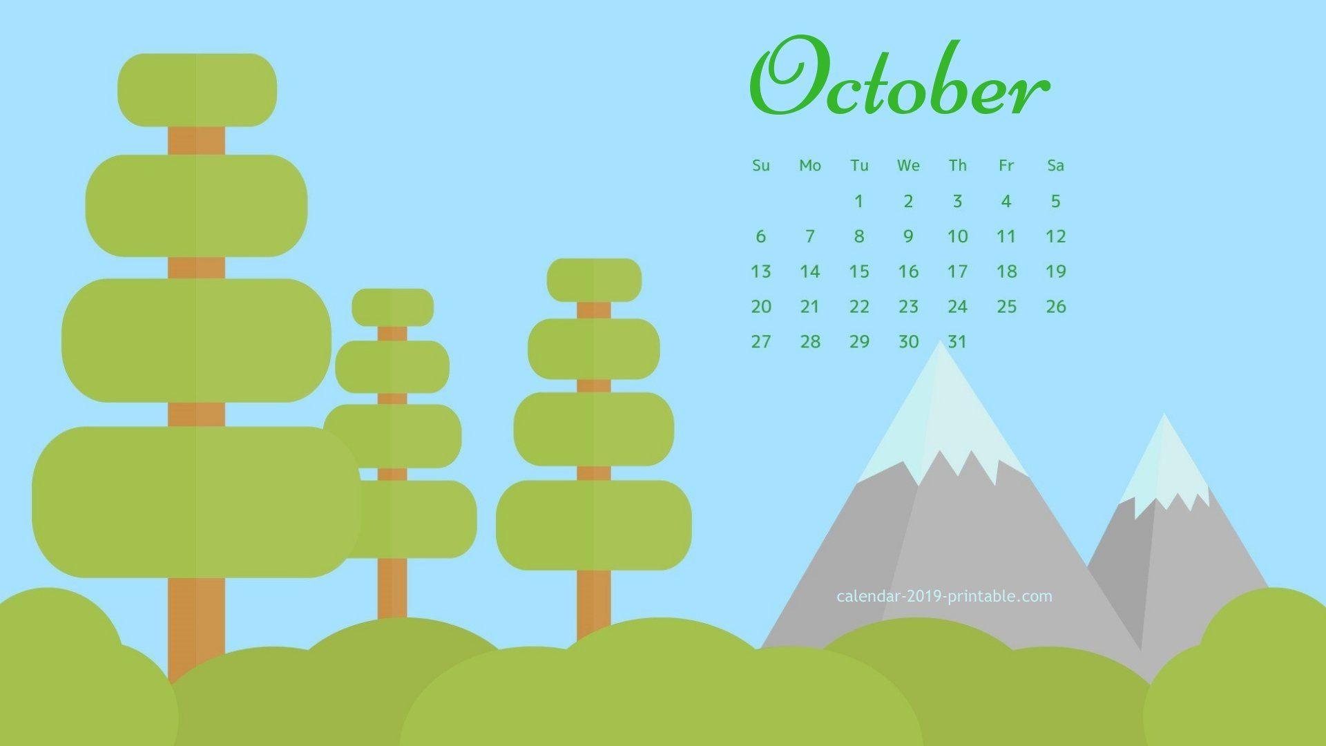October 2019 Calendar Desktop Wallpapers 2019 calendar