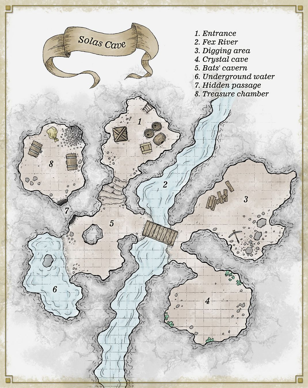 Solas Cave - map for D&D  Second map painted in different