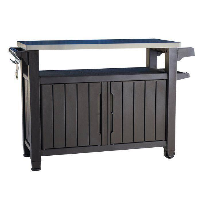 Cambron Caster Bar Serving Cart Patio Storage Outdoor Serving Cart Outdoor Bbq