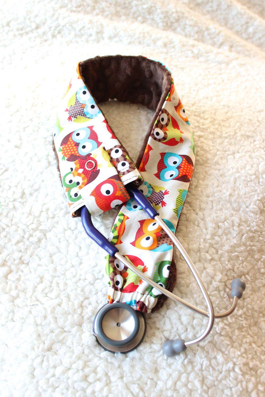 Customizable stethoscope cover beige owls nurses rn etsy