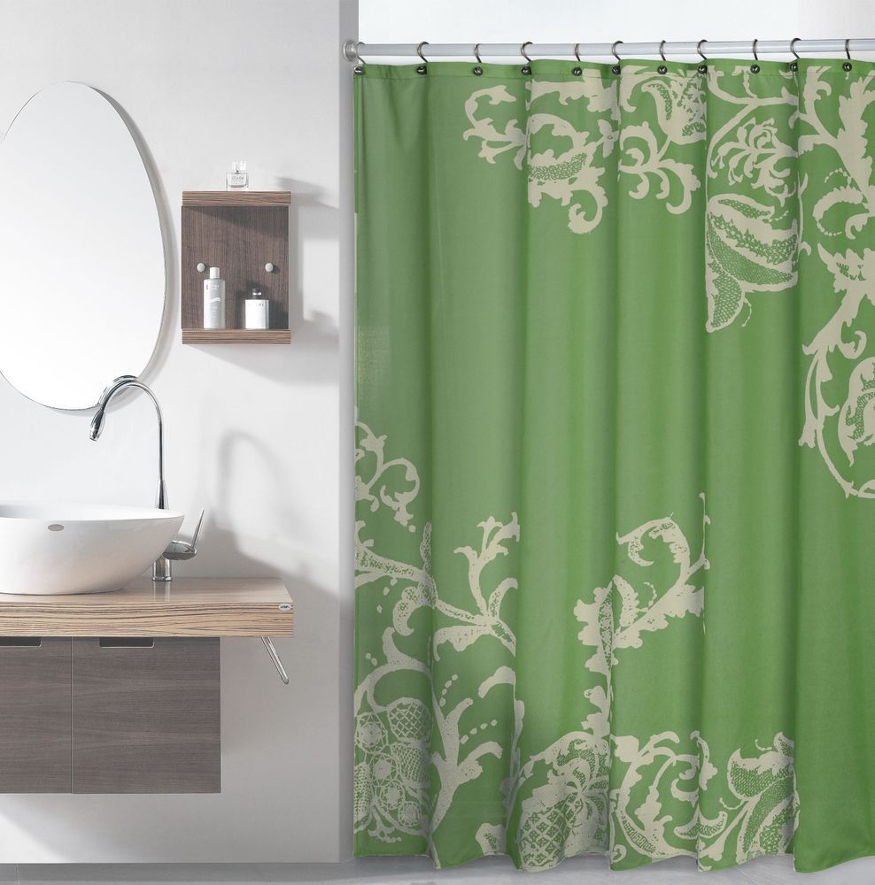 Details About Sage Green Luxury Fabric Shower Curtain With Light Green Floral Pattern With Images Floral Shower Curtains Fabric Shower Curtains Green Shower Curtains