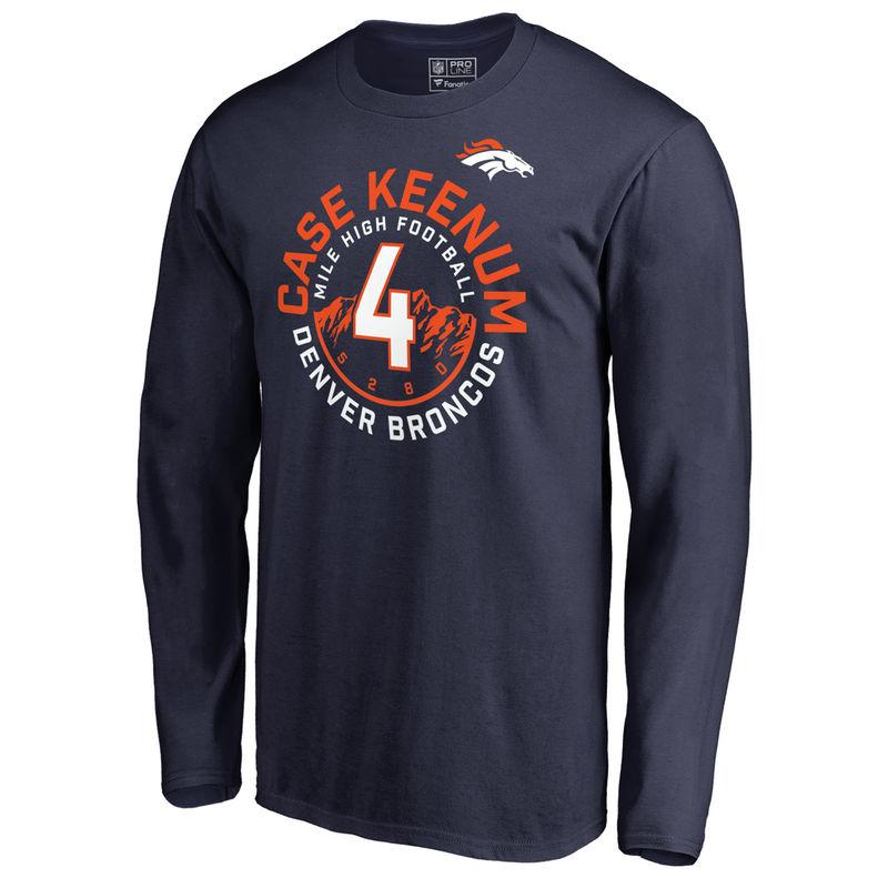 5396d03de Men s NFL Pro Line by Fanatics Branded Case Keenum Navy Denver Broncos  Hometown Collection Mile High Long Sleeve T-Shirt