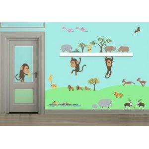Decoloopio.com – Kit de 53 Stickers : Grande Savane  : Ce Kit de 53  stickers savane  vous permettra de créer un univers   complet à prix  préférentiel !   . Idéal pour décorer la chambre de votre enfant – Stickers en Soldes