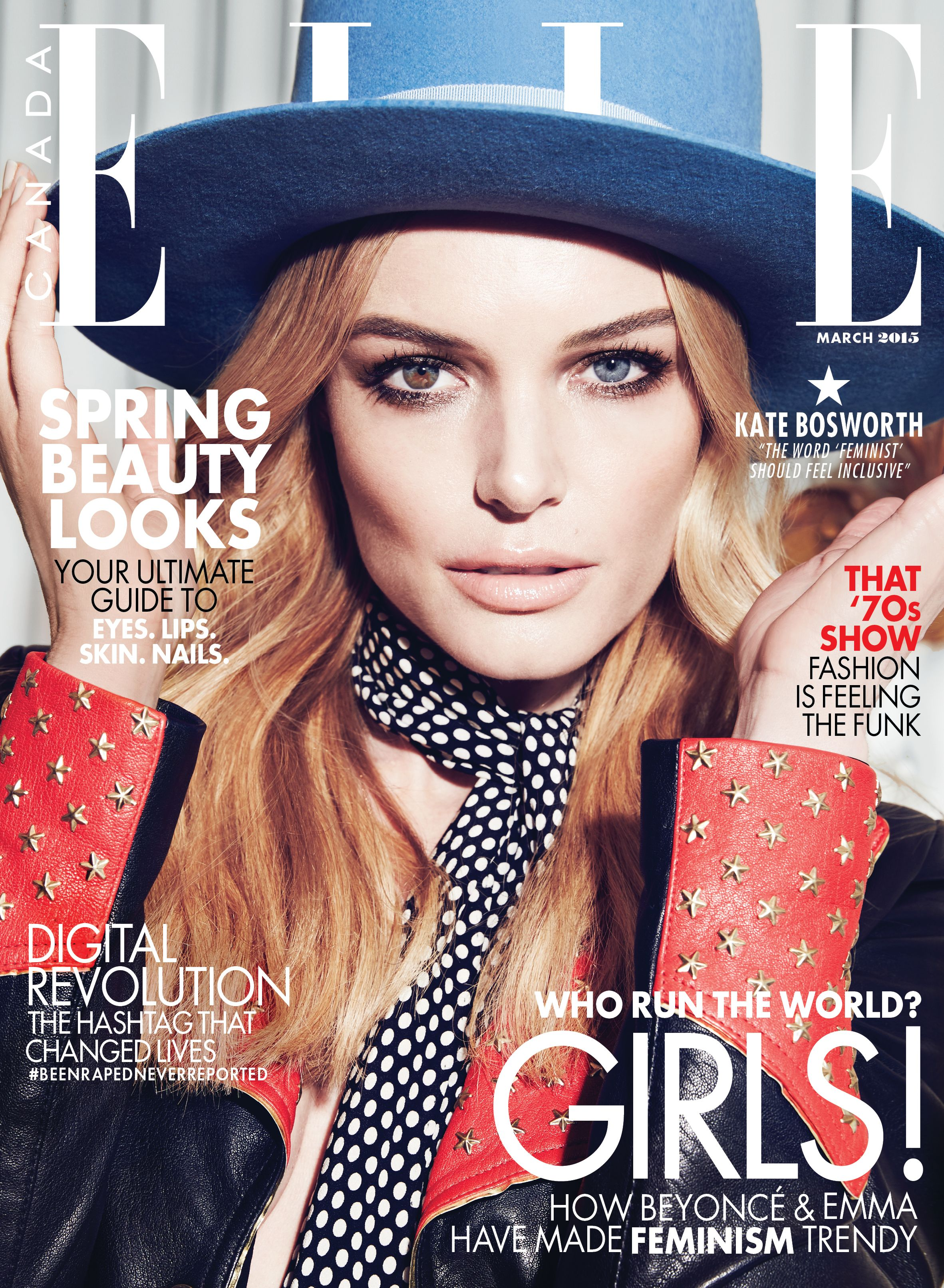 Kate Bosworth is the cover girl for ELLE Canada's March 2015 issue. ART DIRECTOR Brittany Eccles PHOTOGRAPHER Max Abadian STYLIST Juliana Schiavinatto HAIR Bridget Brager MAKEUP Melanie Inglessis