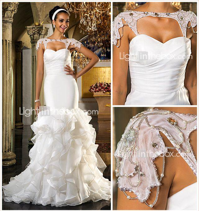 Trompeta / Sirena Escote Corazón Larga Organza Tul Vestidos de novia ...