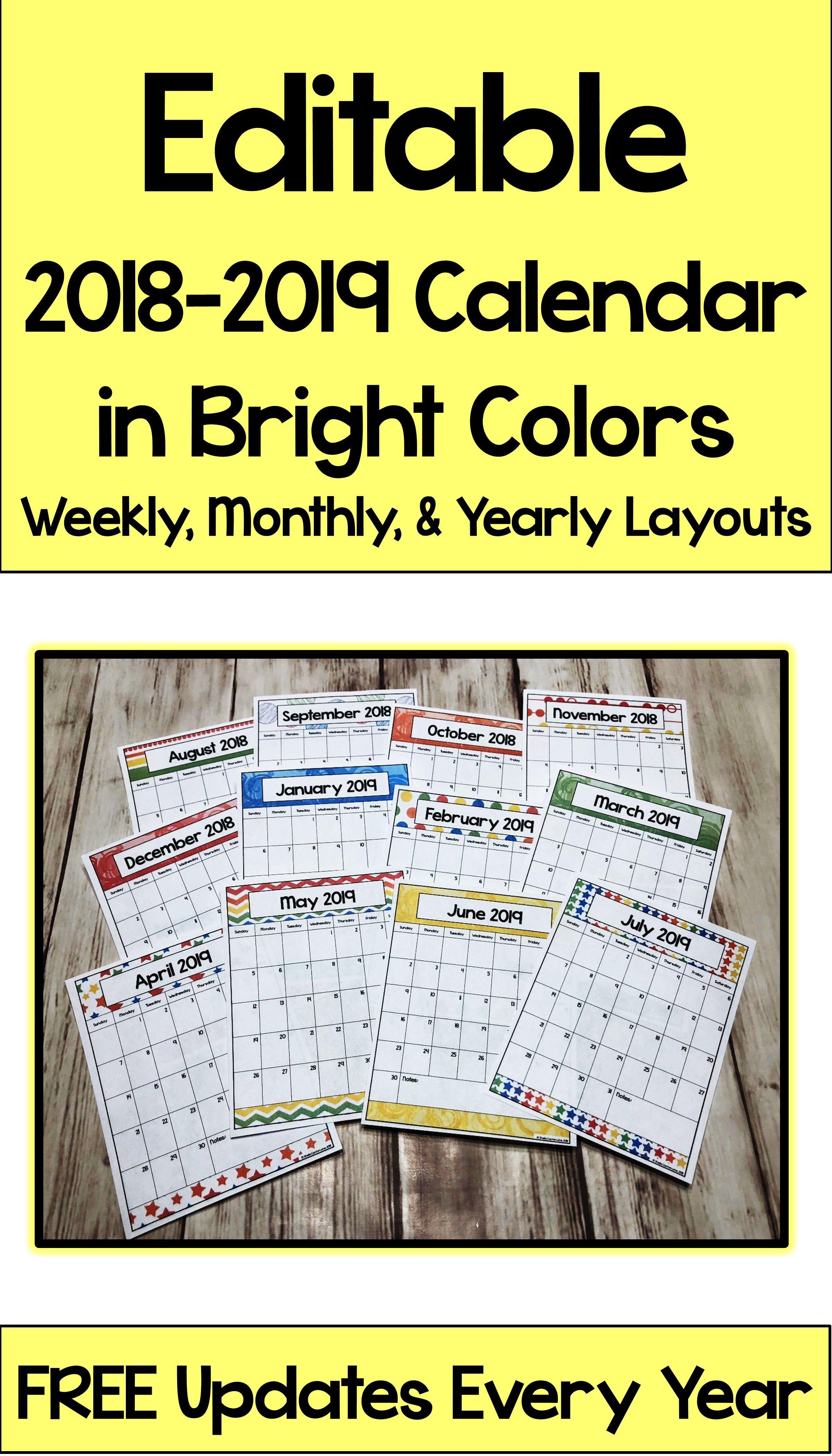 2022 Primary Calendar.2021 2022 Editable Bright Calendar And Planner With Digital Printable Options Calendar Classroom Calendar School Calendar
