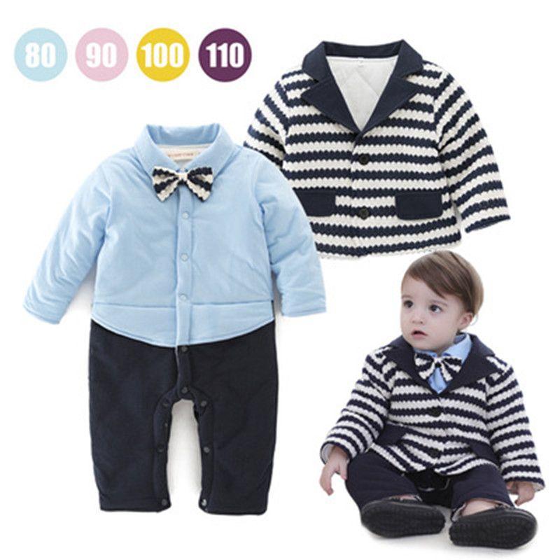 1ed5a1e9869e Winter Baby Clothes Set Folder Cotton Long Sleeve Rompers + Coat Boys  Jumpsuit Thicker Fashion Kids Clothes Blue Black Wholesale
