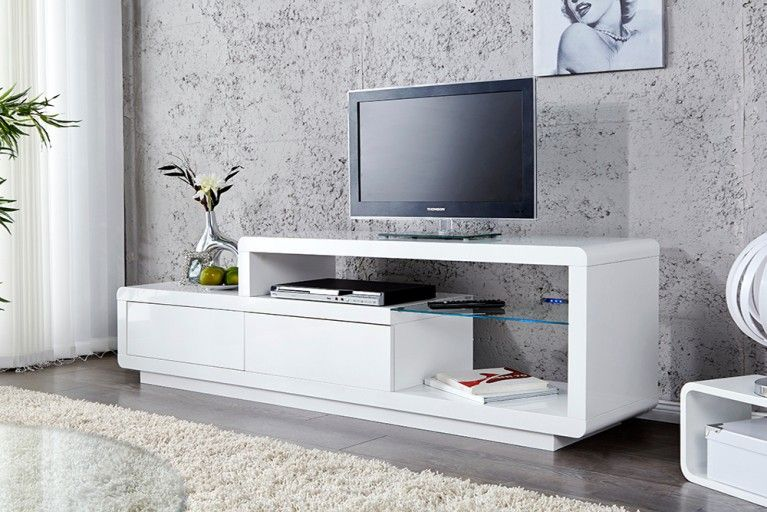 Exklusives Design TV-Lowboard PHASE weiß Hochglanz blaue LED