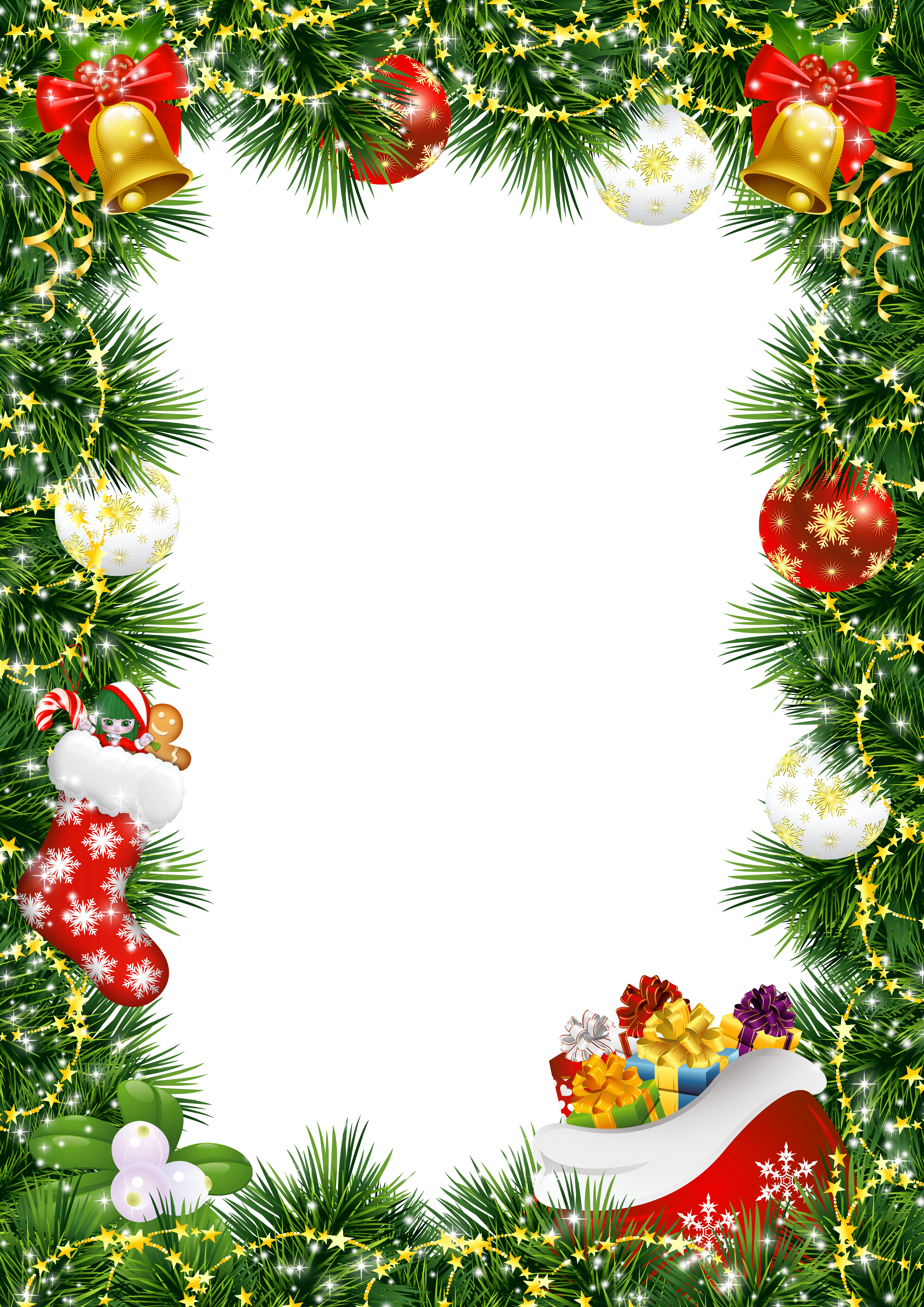 Christmas Photo Frame with Christmas Ornaments ...