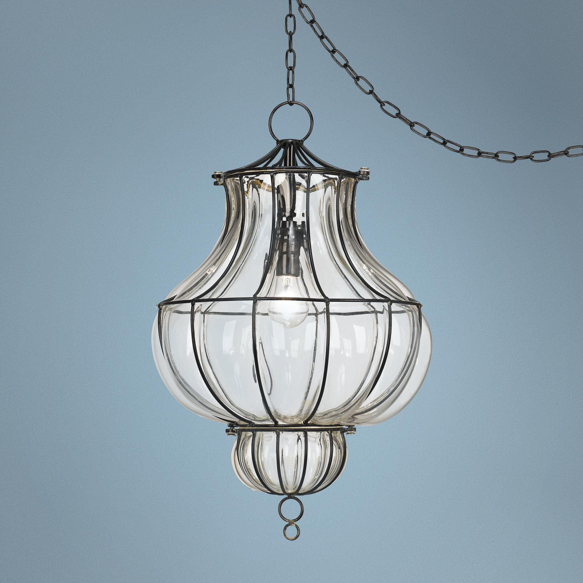 Centinela Lantern 12 Wide Glass Plug In Swag Chandelier W9242 Lamps Plus Swag Chandelier Plug In Pendant Light Swag Light