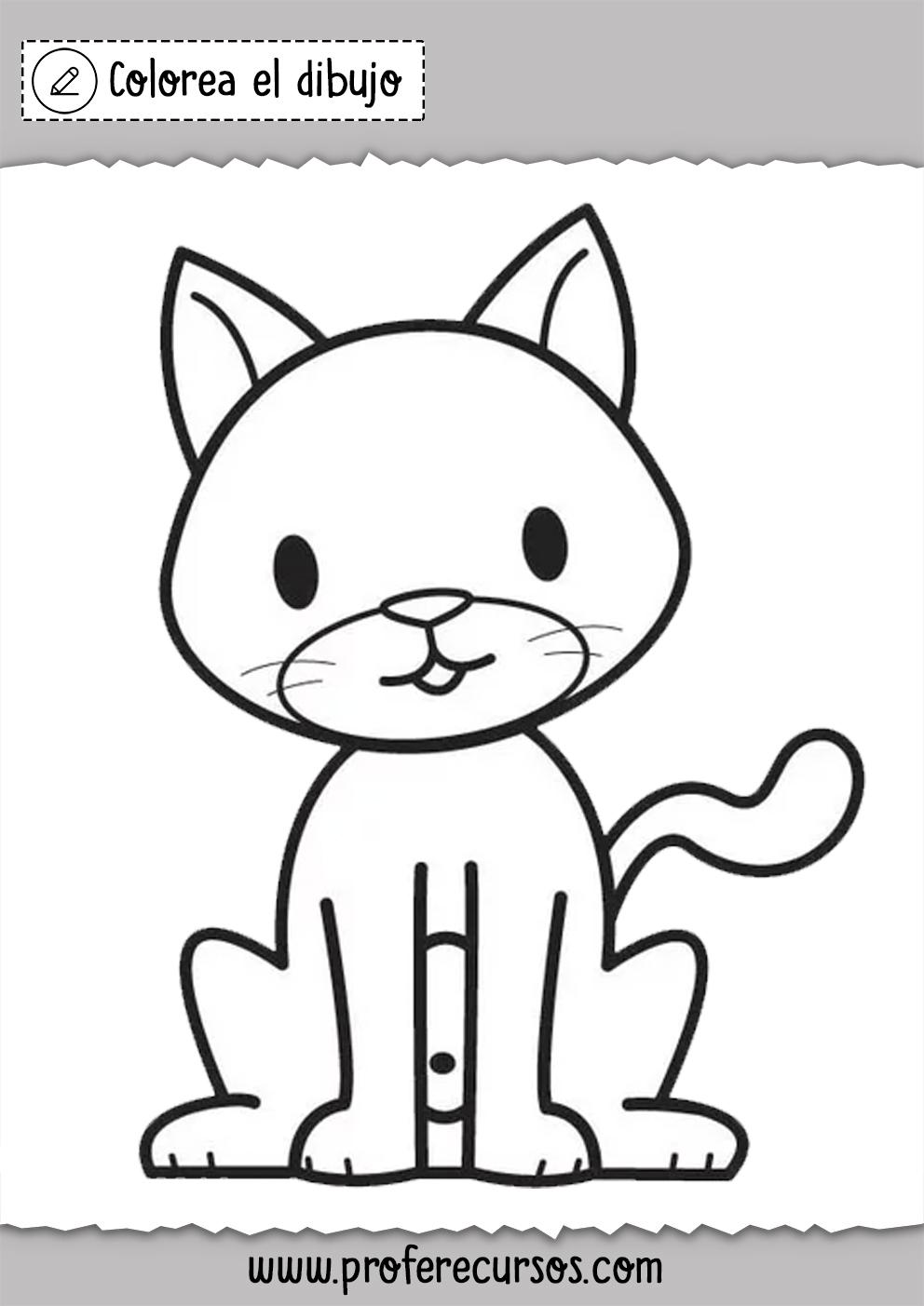 Dibujos De Gatos Para Colorear Gatito Para Colorear Dibujos De Gatos Paginas Para Colorear De Animales