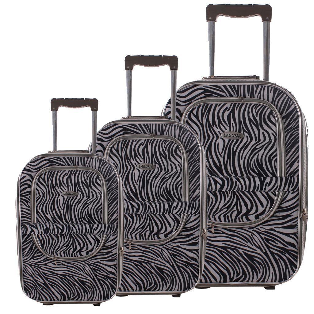 8445768a0fb0e Laguna 235 Siyah Beyaz Valiz Bavul Seti   Kumaş Valiz   Büyük çanta ...