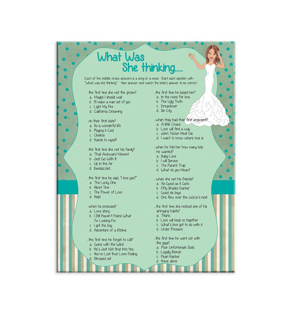 bridal shower game what was she thinking couple by thevintagepen