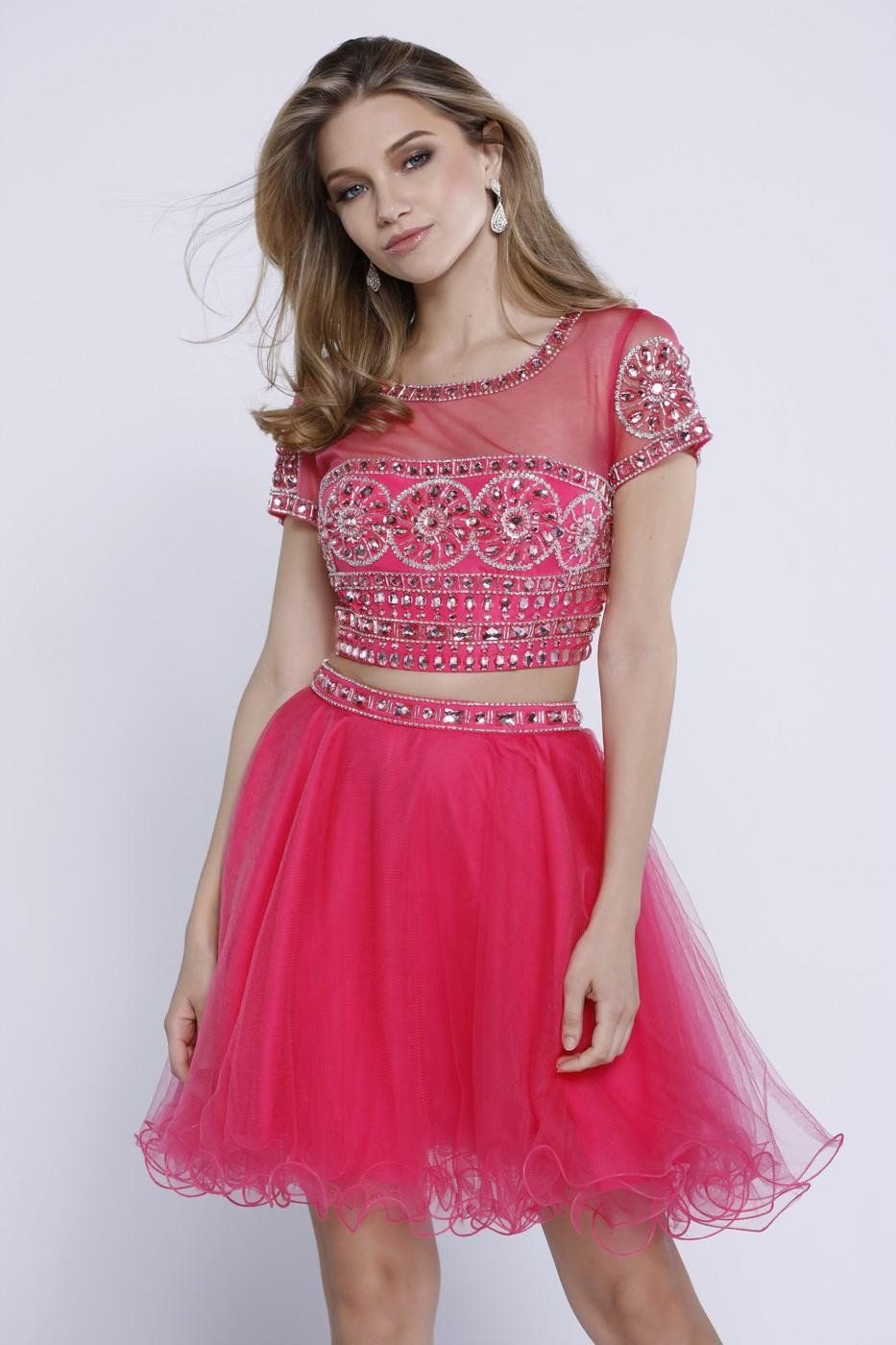 Beaded short sleeve two piece dress color fuchsia short sleeves