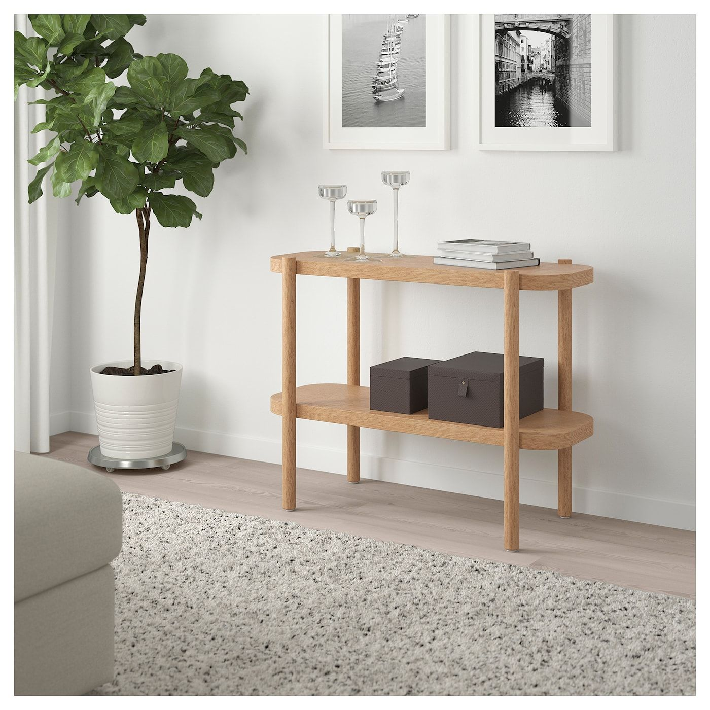 Listerby Console Table White Stained Oak 36 1 4x15x28 Ikea Wood Console Table Ikea Console Table Ikea Listerby