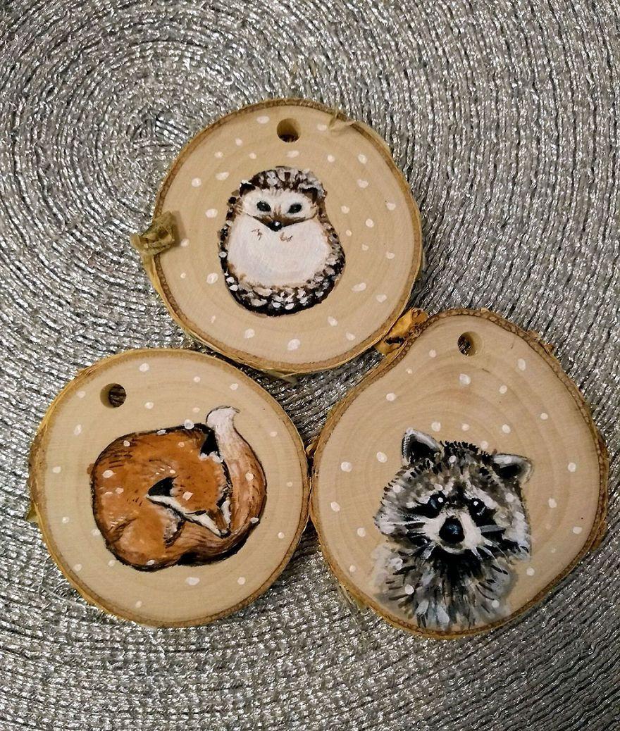 I Paint Animal Portraits On Slices Of Wood