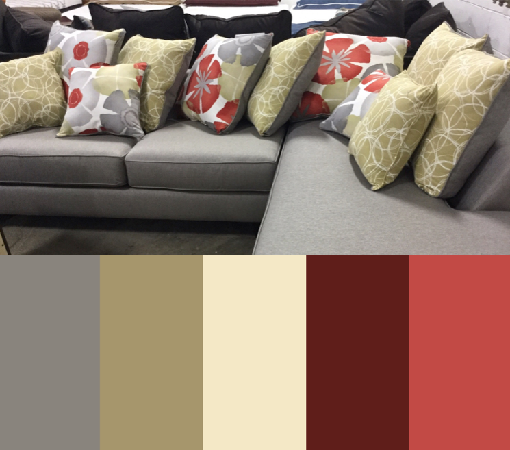 This Color Scheme Inspired By The Pop Stitch Dove Sectional Features Gray Sand Burgundy Deep Coral Grey Home Decor Burgundy Color Scheme Grey Color Palette #pasadena #tan #living #room #sectional