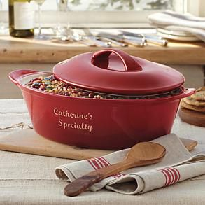 Love this personalized casserole dish from RedEnvelope!