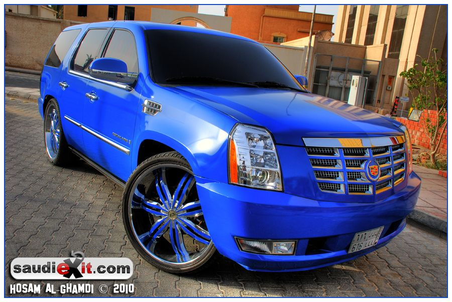 Blue Cadillac Escalade