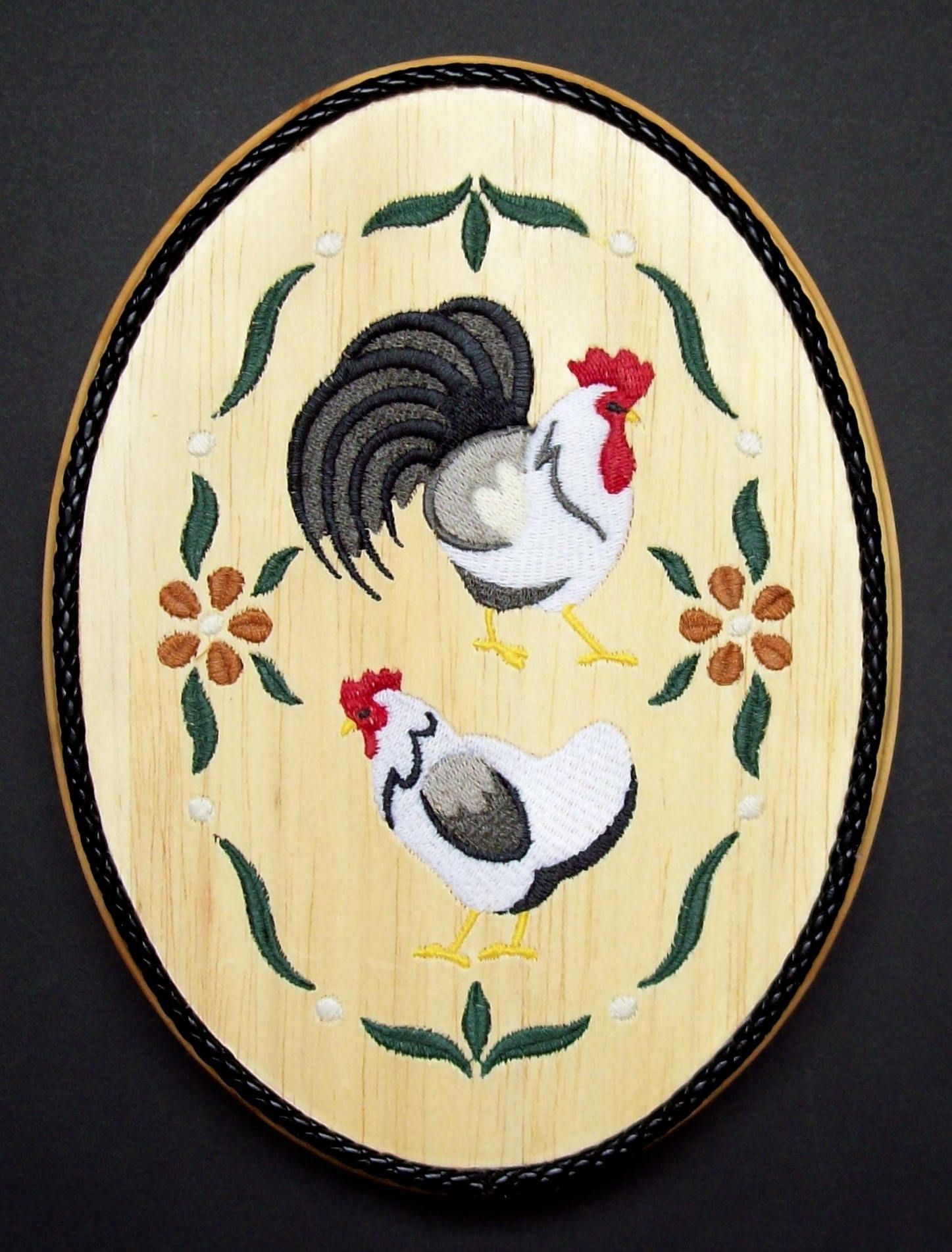 French Country Chickens Embroidery Wood Art, Chicken Wall Decor ...