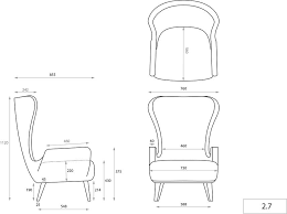 Image Result For Elevated Front View Wingback Chair Measurements Wingback Chair Chair Elevation